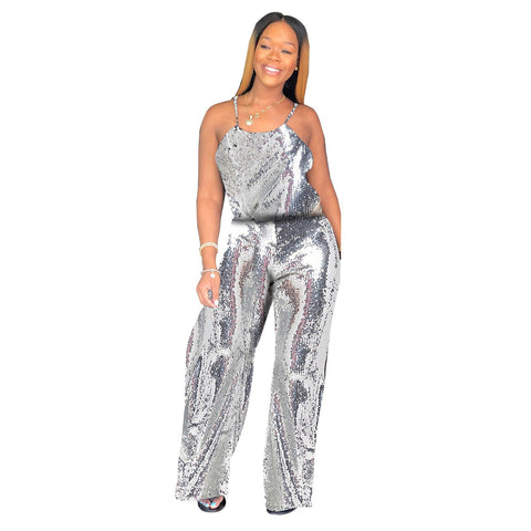 Women's Sparkle Glam Solid Sequin Spaghetti Strap Wide Leg Jumpsuit