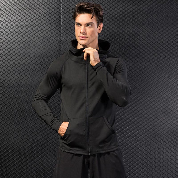 Men's Hooded Zippered Quick Dry Jacket