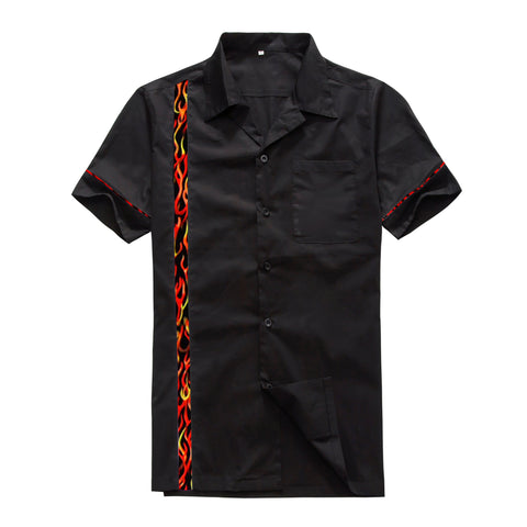 Cotton Flame Panel Vintage Club Bowling Shirt