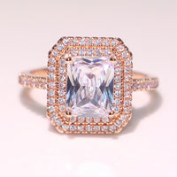 925 Silver & Rose Gold Filled Princess Cut Cubic Zircon Ring