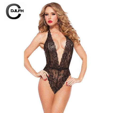 Lace Deep V Erotic One-piece Transparent Lingerie