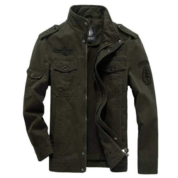 Military Style Multi-Pocket High Collar Jacket