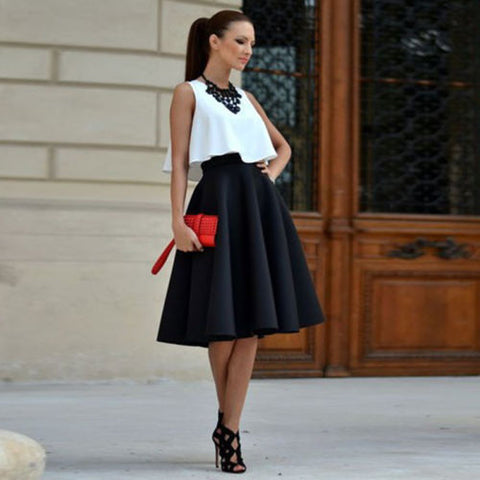Two-Piece Sleeveless Top and Knee Length Skirt Set