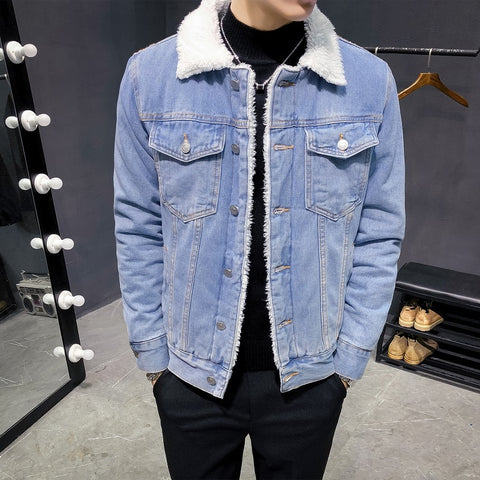 Denim Thick Warm Wool Lined Jacket