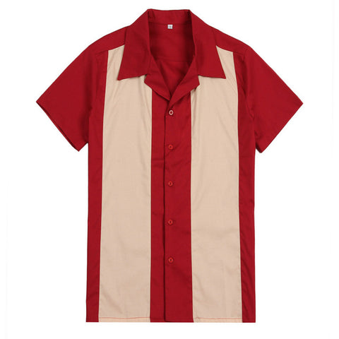 Cotton Vertical Striped Designer Bowling Shirt
