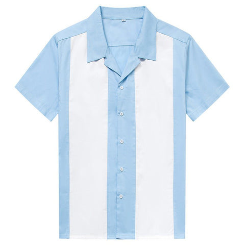 Blue/White Vertical Striped Short Sleeve Bowling Shirt