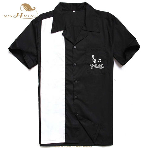 Short Sleeve Embroidered Cotton Bowling Shirt