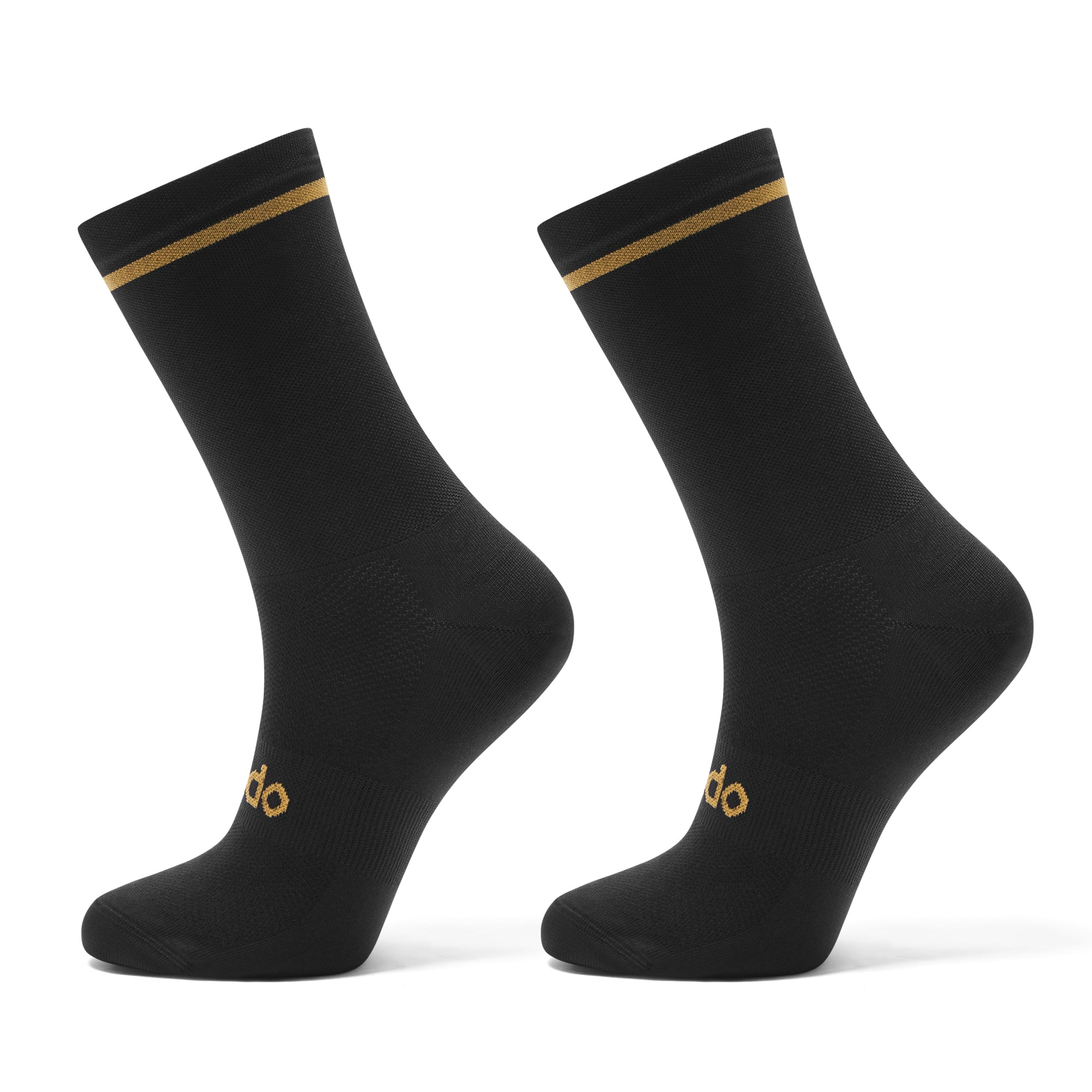 Black cycling socks with gold trim