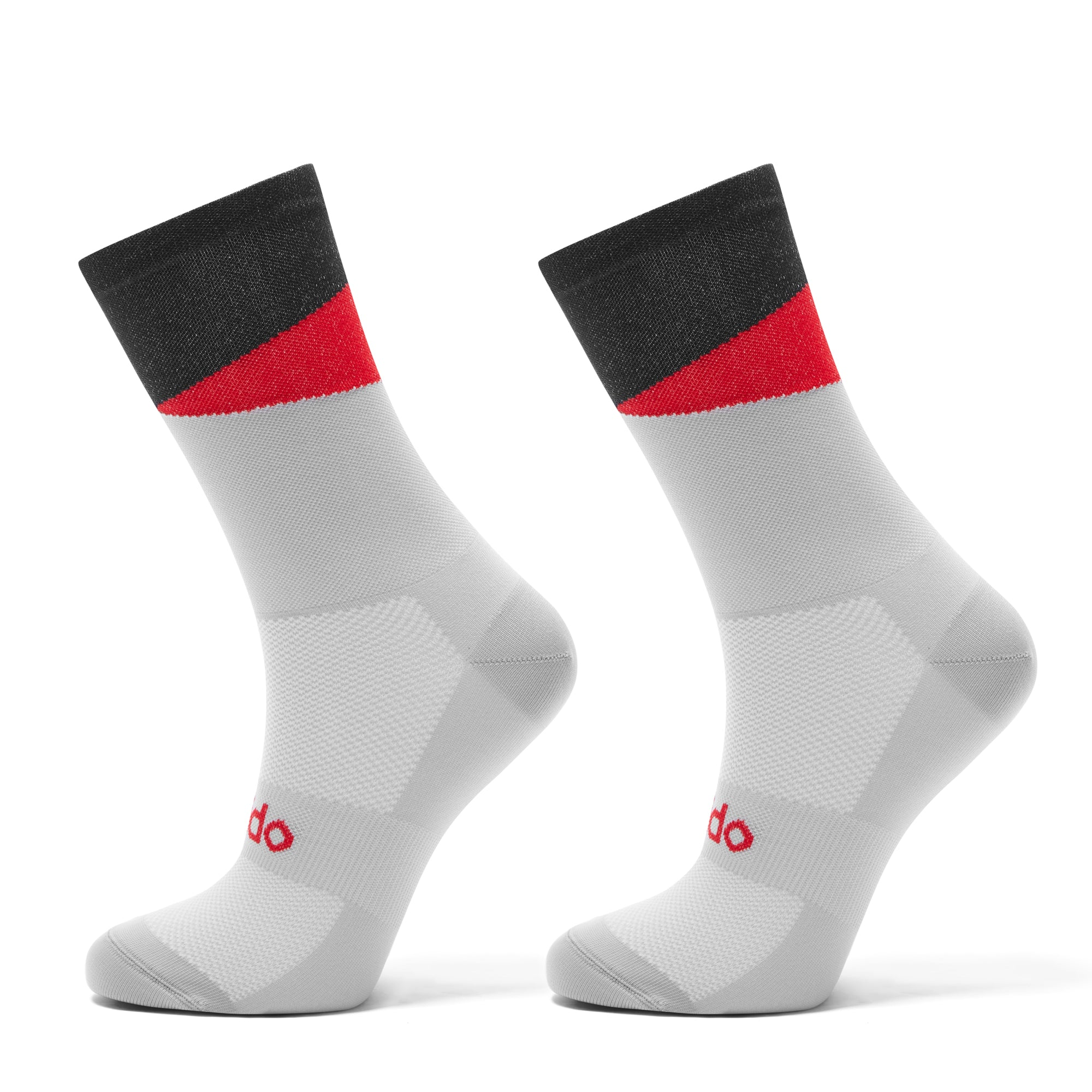 Black and Red Cycling Socks designed to look like cats eyes