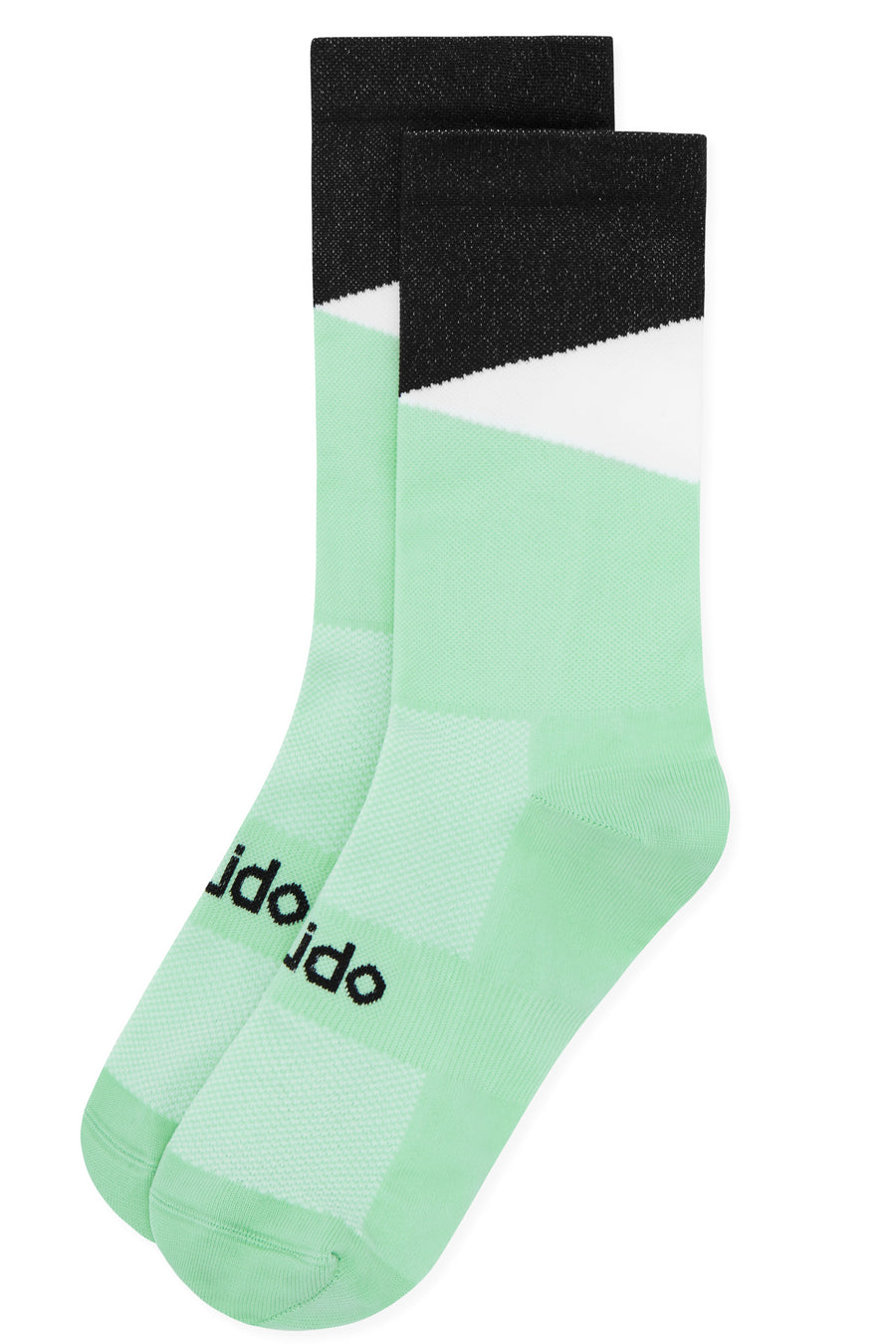 Black and lime cyclings socks designed to look like cats eyes