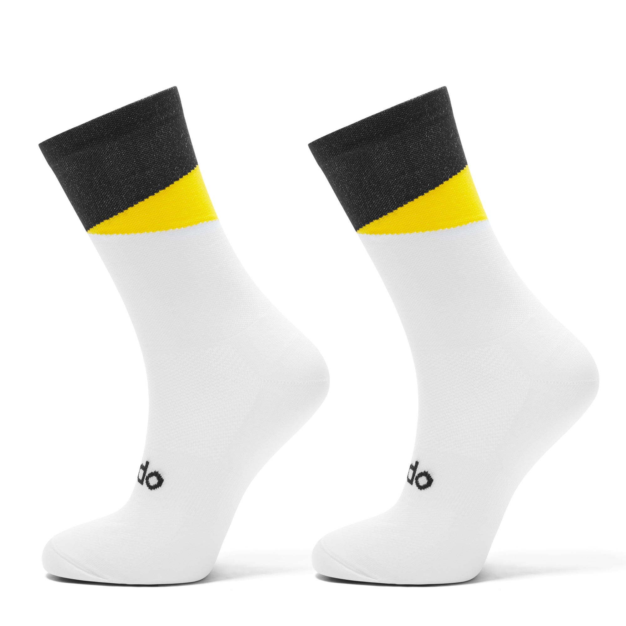 White and yellow cycling socks designed to look like cats eyes