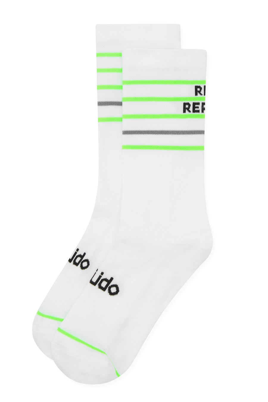 White Cycling Socks with Eat Sleep Ride Repeat on the back