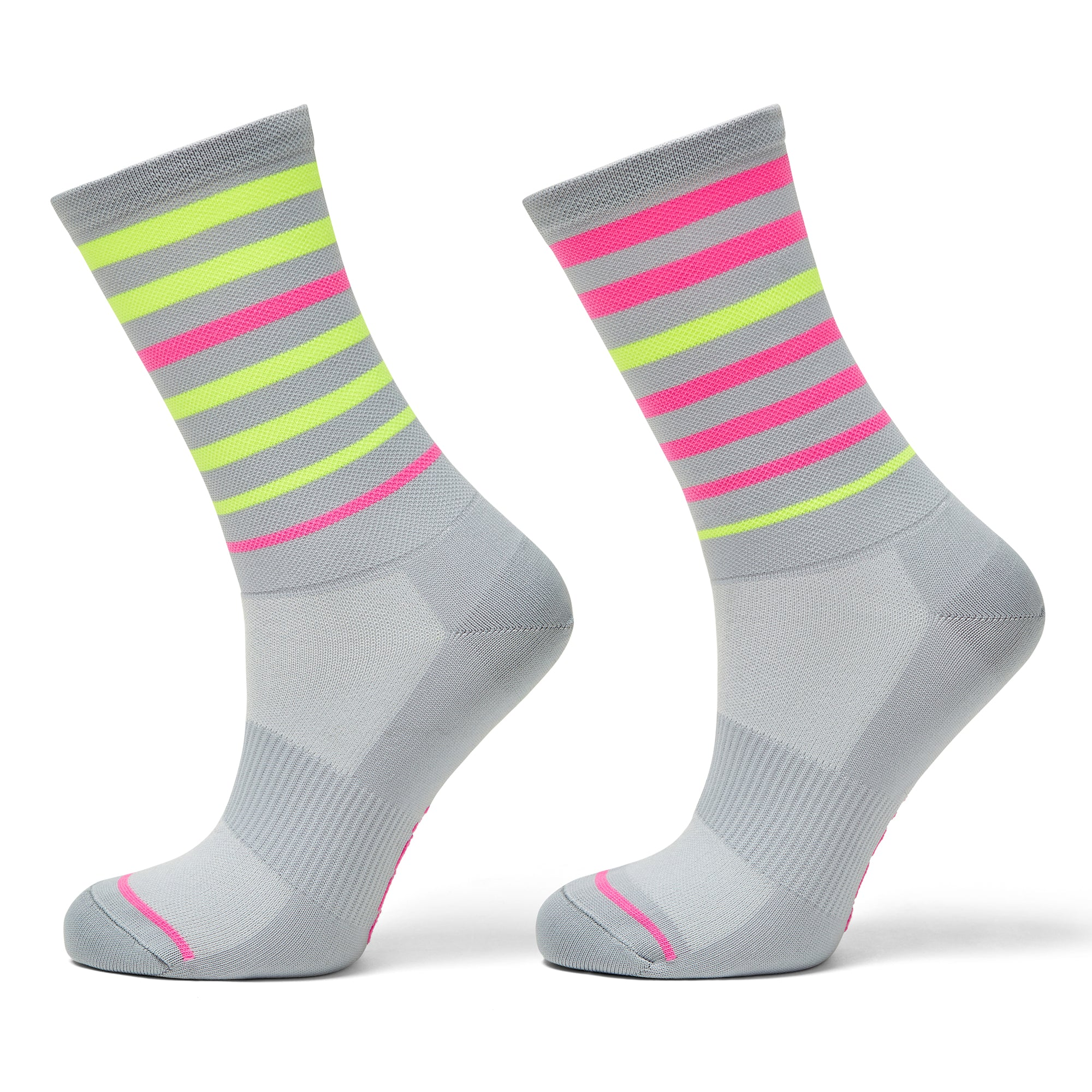 Breton striped cycling socks with fluro colours