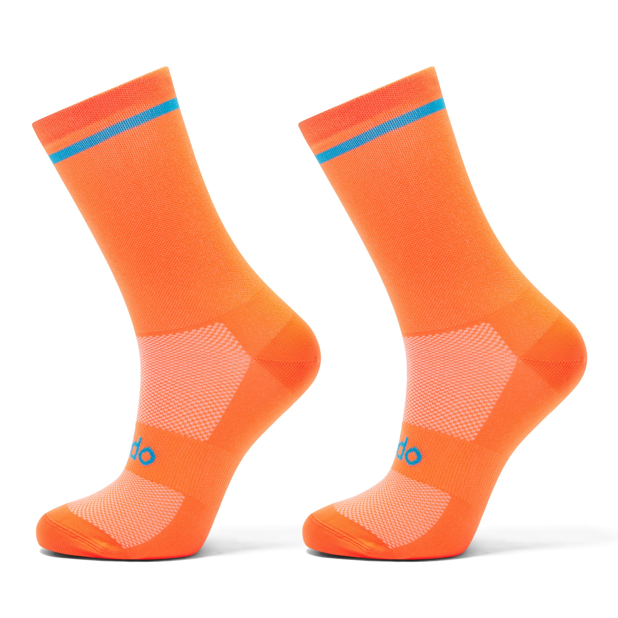 Orange cycling socks with blue trim