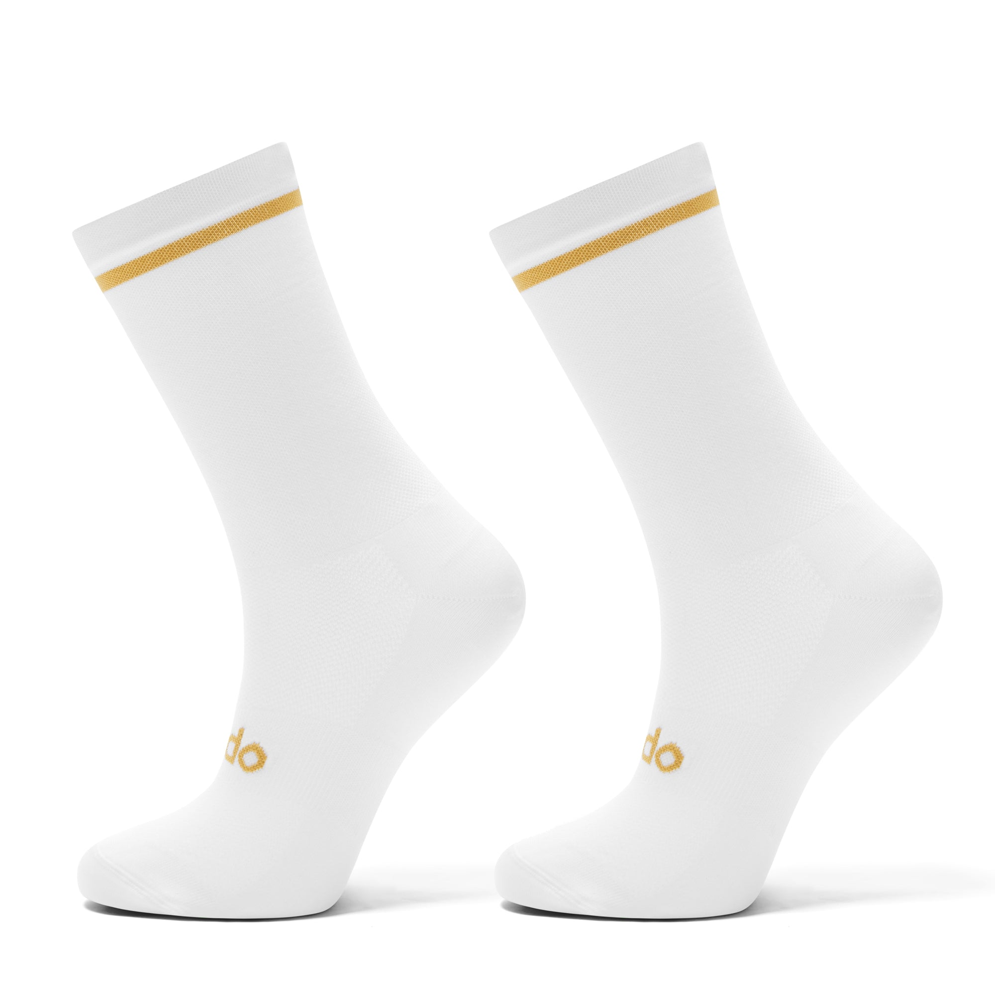 White Cycling Socks with a gold trim