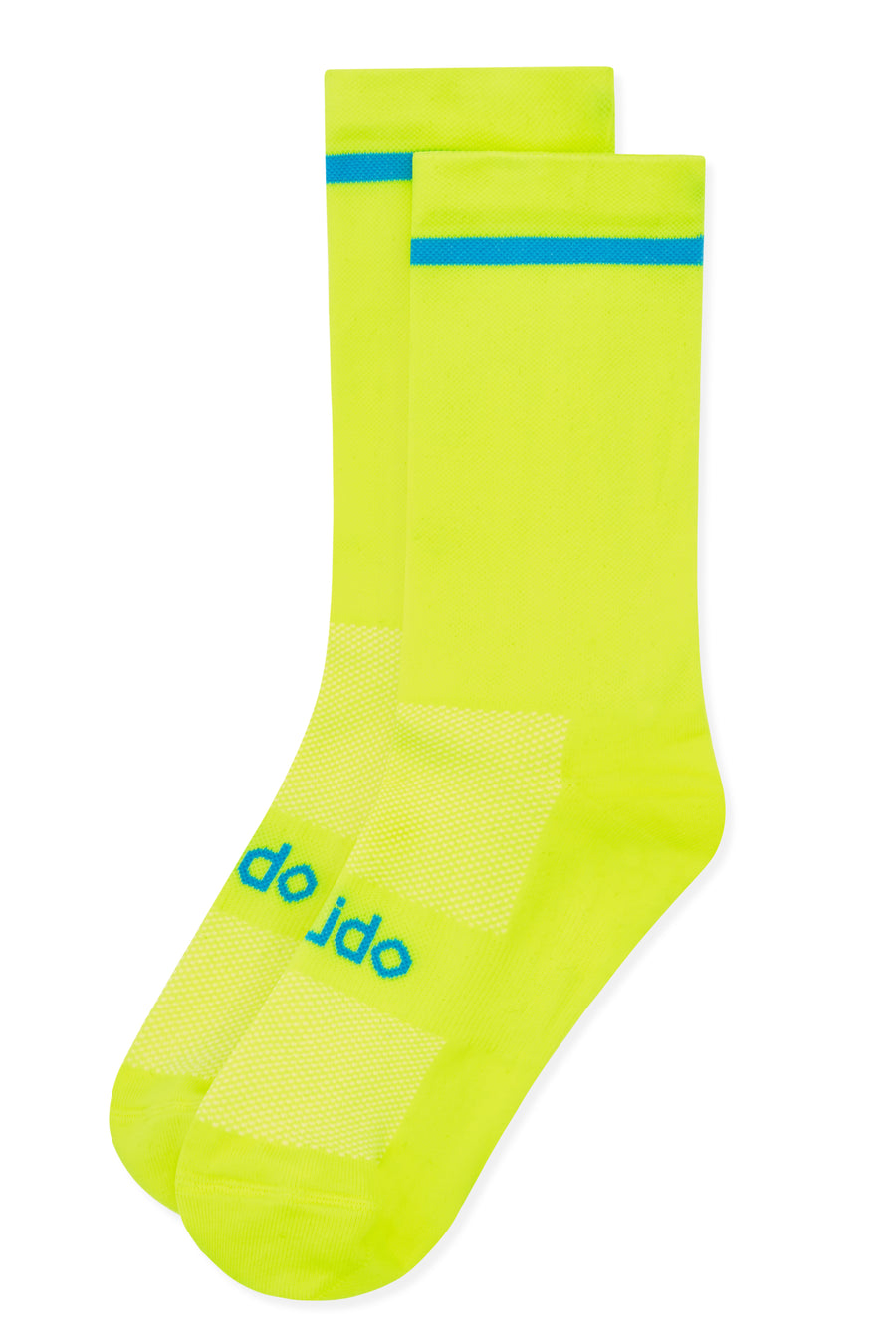 Yellow cycling socks with blue trim