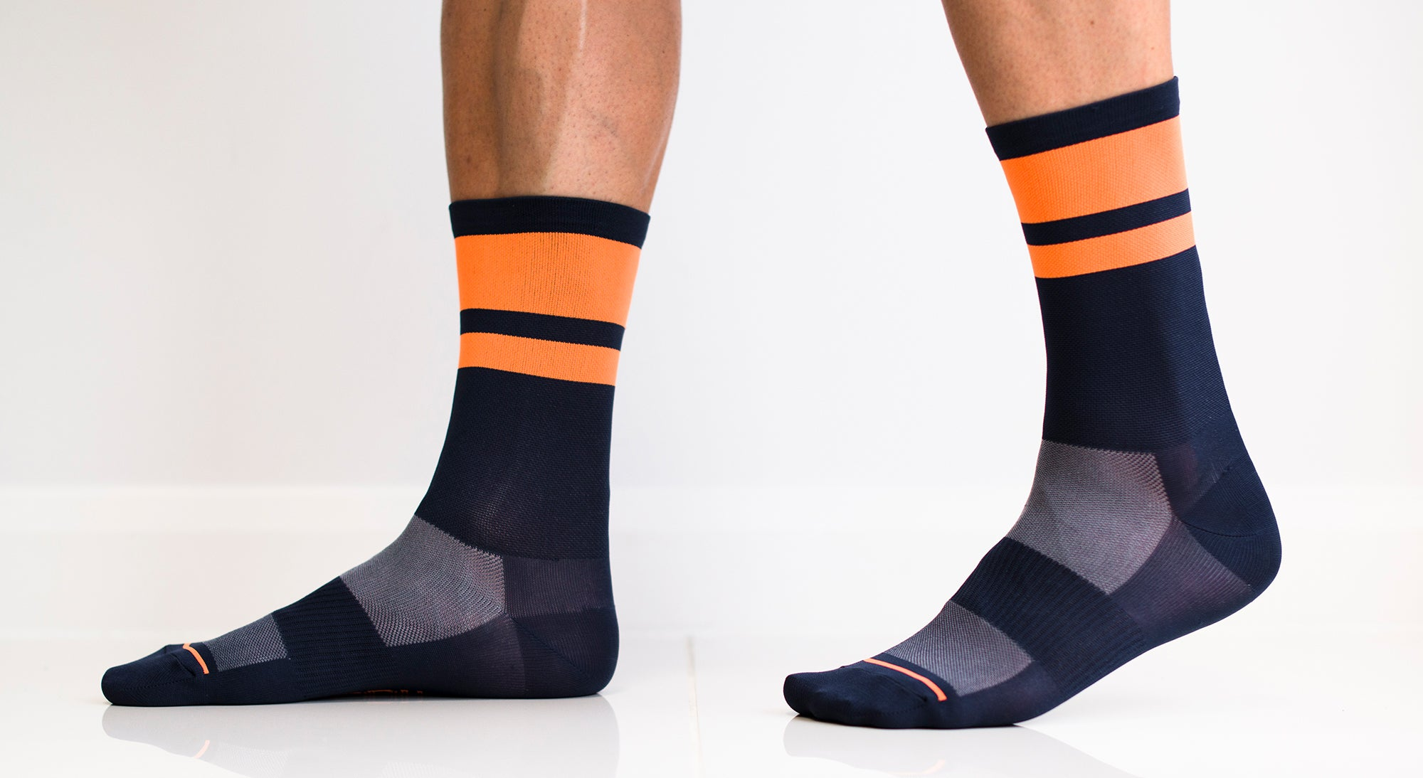 Summer Cycling Socks - Double-up Navy/Orange