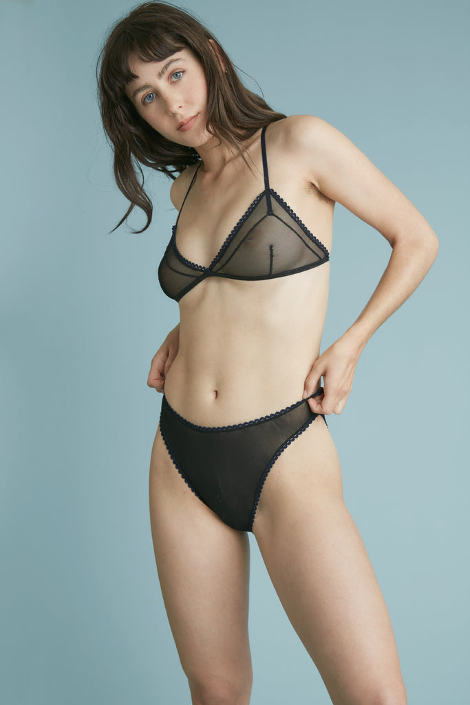 The Rose Bra - Black Mesh & Bleu Trim