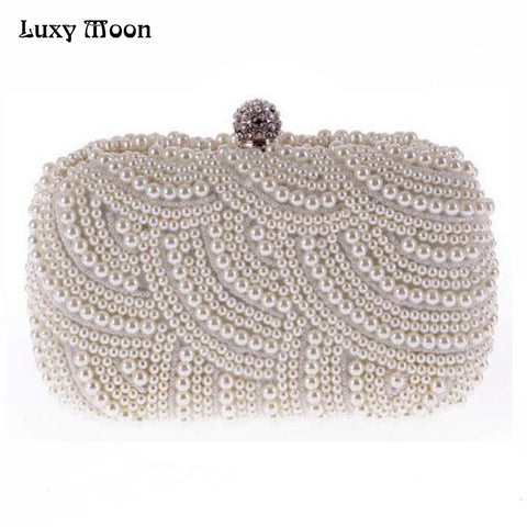 100% Hand made Luxury Pearl Clutch bags Women Purse Diamond Chain white Evening Bags for Party Wedding black Bolsa Feminina