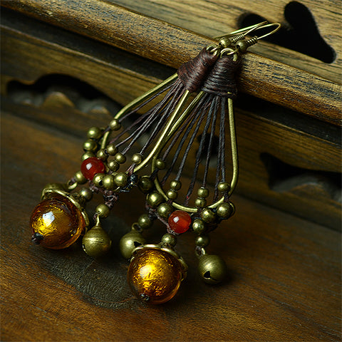 Handcraft trendy ethnic earrings for women red carnelian copper cap bells hanging waxed copper hook style fashion jewelry 2017