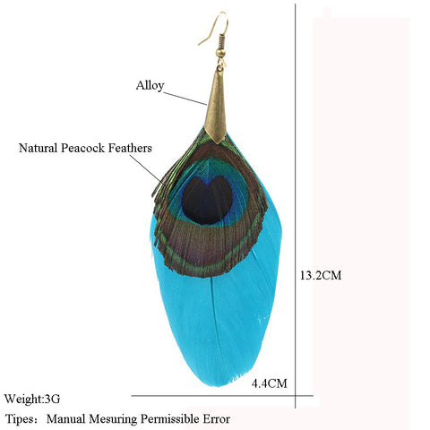 Feather Women's earrings Ethnic Round Wooden Beads Peacock Feather Long tassel earrings for women Vintage Bohemian earring
