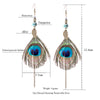 Image of Feather Women's earrings Ethnic Round Wooden Beads Peacock Feather Long tassel earrings for women Vintage Bohemian earring