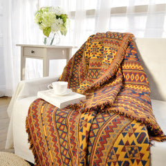 Ethnic Style Yellow Sofa Towel Blanket Geometric Pattern Carpet For Living Room Bedroom Rug Bedspread Dust Cover Tapestry