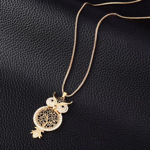 Cute Crystal Owl  Necklaces Women Jewelry