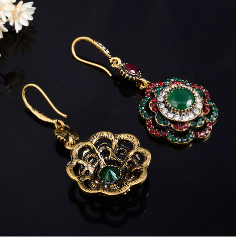 Joyme Drop Earrings Ethnic Long Clip Crystal Vintage Party Cuff Wedding Bohemian Earrings For Women Collier Femme Oorbellen
