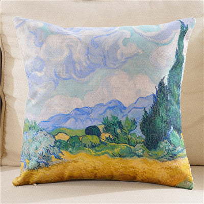 Van Gogh abstract pastoral scenery decorative pillow case
