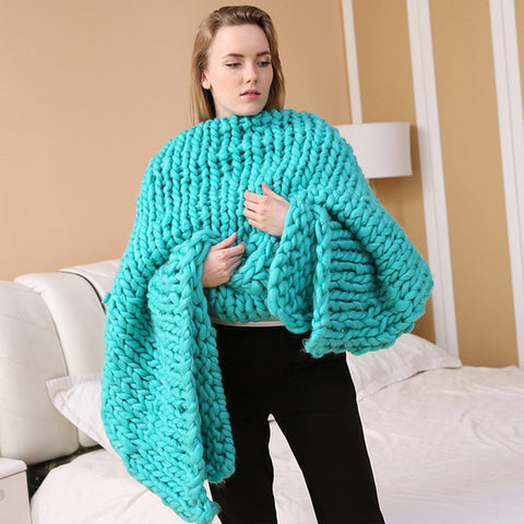 Super Soft Thick Line Handmade Knitting Blankets