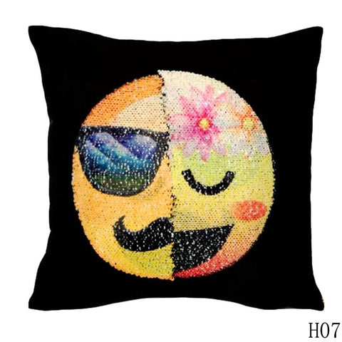 Awesome Changing Face Emoji Decorative Sequin Pillow Cases
