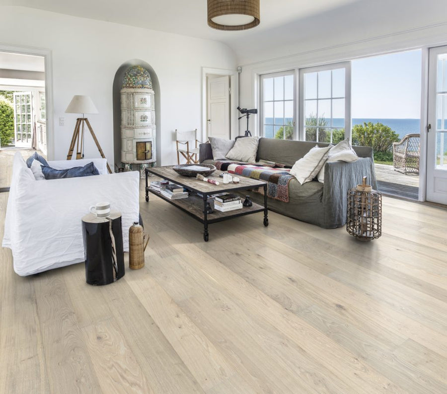 Kährs Oak Nouveau Blonde. Wide plank engineered hardwood flooring from Sweden.
