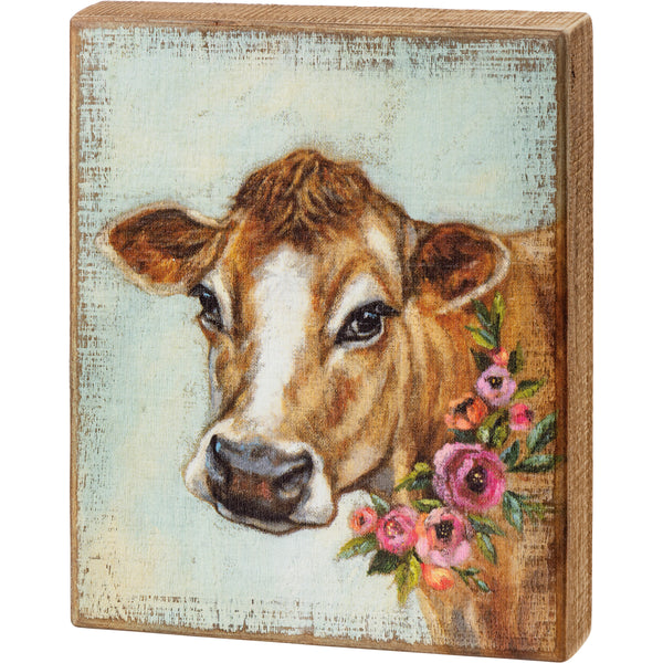 Cow Floral Block Sign