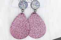 Crystal & Pink Metallic Dangle Earrings