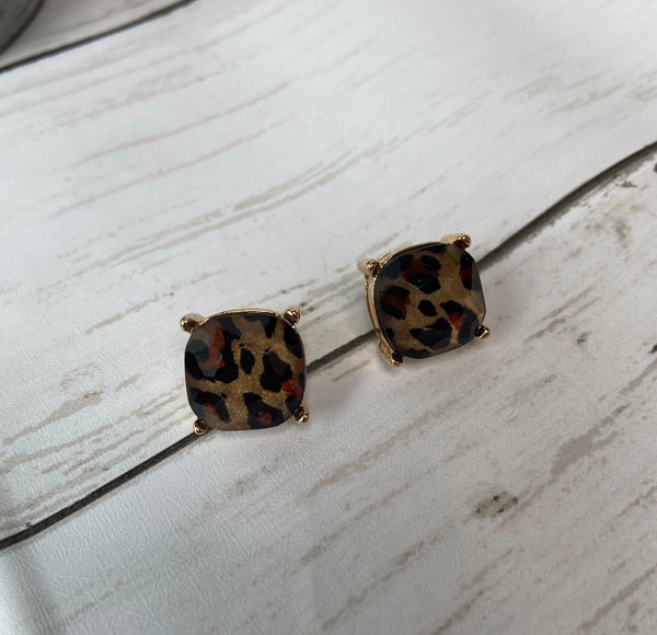 cheetah stud earrings
