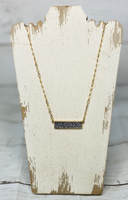 Druzy Pendant Bar Necklace