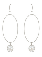 Oval Hoop & Rhinestone Earrings