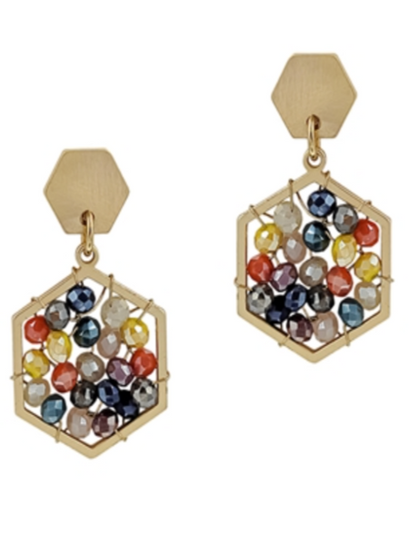 Gold Multi Crystal Hexagon Earrings