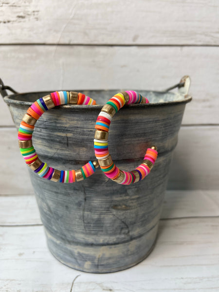multi colored hoop earrings