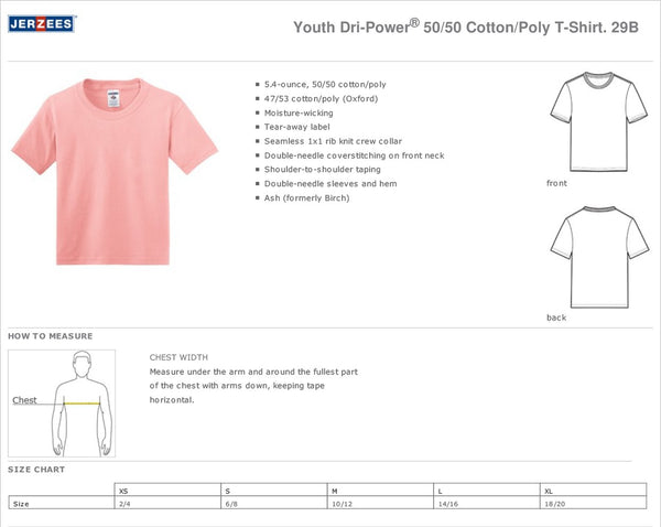Polk Avenue JERZEES® - Youth and Adult Dri-Power® Active 50/50 Cotton/Poly T-Shirt - Pink