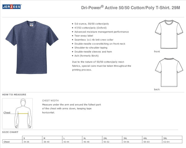 Alta Vista JERZEES® - Youth and Adult Dri-Power® Active 50/50 Cotton/Poly T-Shirt - White