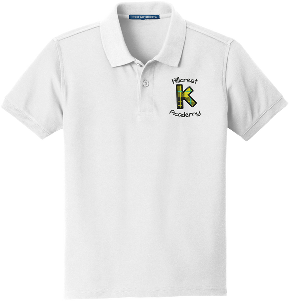 CLEARANCE - Kindergarten (K) Academy (Hillcrest)  Youth  Classic Pique Polo - WHITE