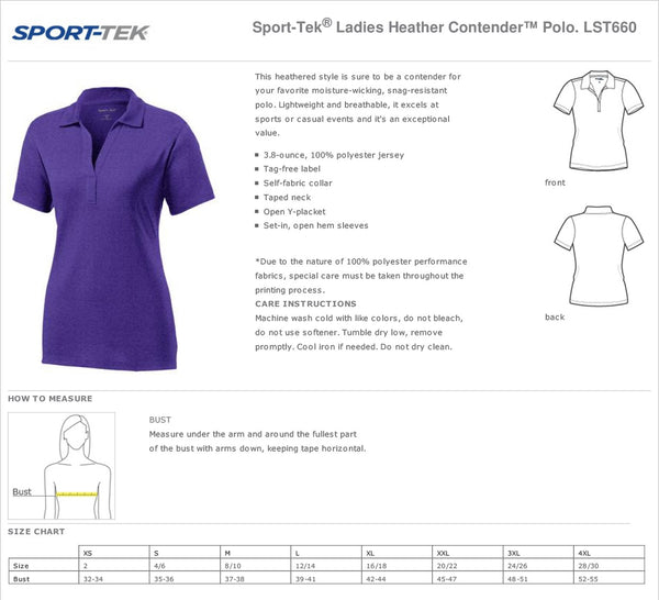 Staff Polo Hillcrest Sport-Tek® Ladies Heather Contender™ Polo - Graphite Heather