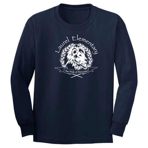 Laurel Elementary Long Sleeve Basic T-Shirt- (Youth & Adult Sizes) - Navy