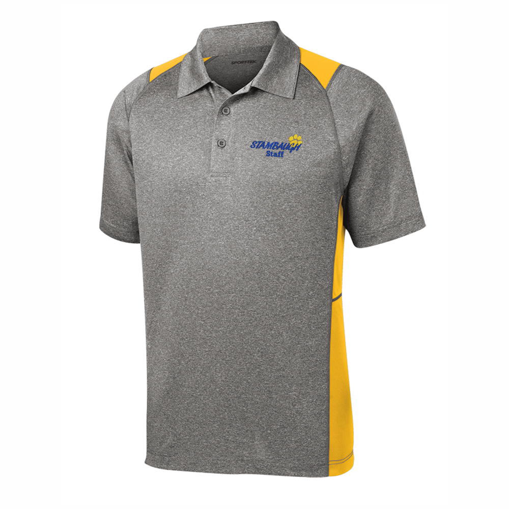 Men's Sport-Tek Heather/Gold Colorblock Polo - SMS STAFF ONLY
