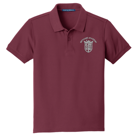 Bethune Academy Port Authority® YOUTH Core Classic Pique Polo - Burgundy