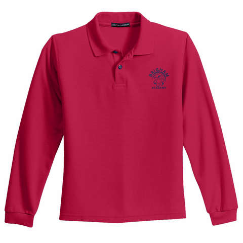 Brigham Academy Port Authority® YOUTH Long Sleeve Polo - RED