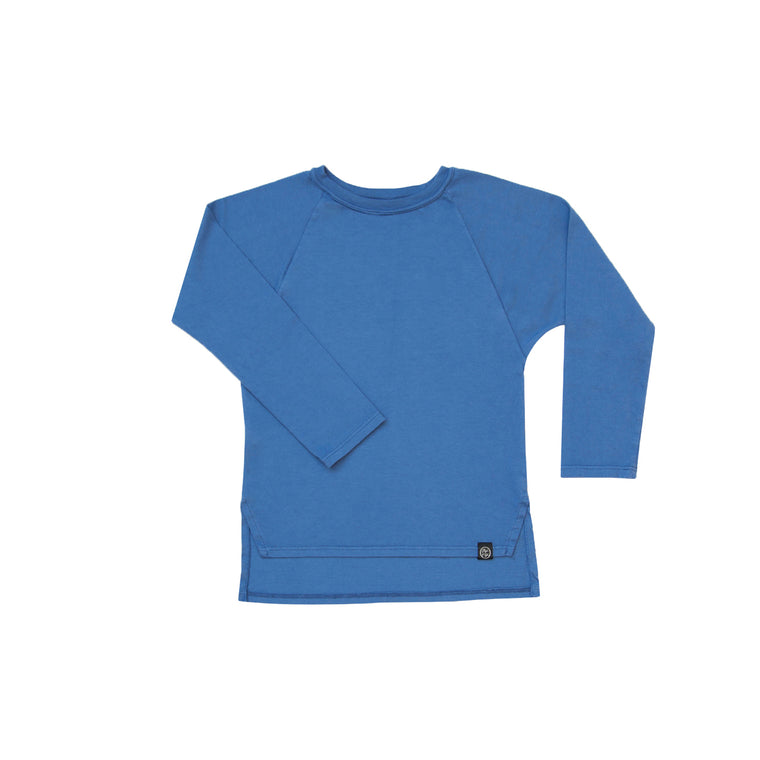 Long Sleeve Raglan Tee in Cerulean Blue