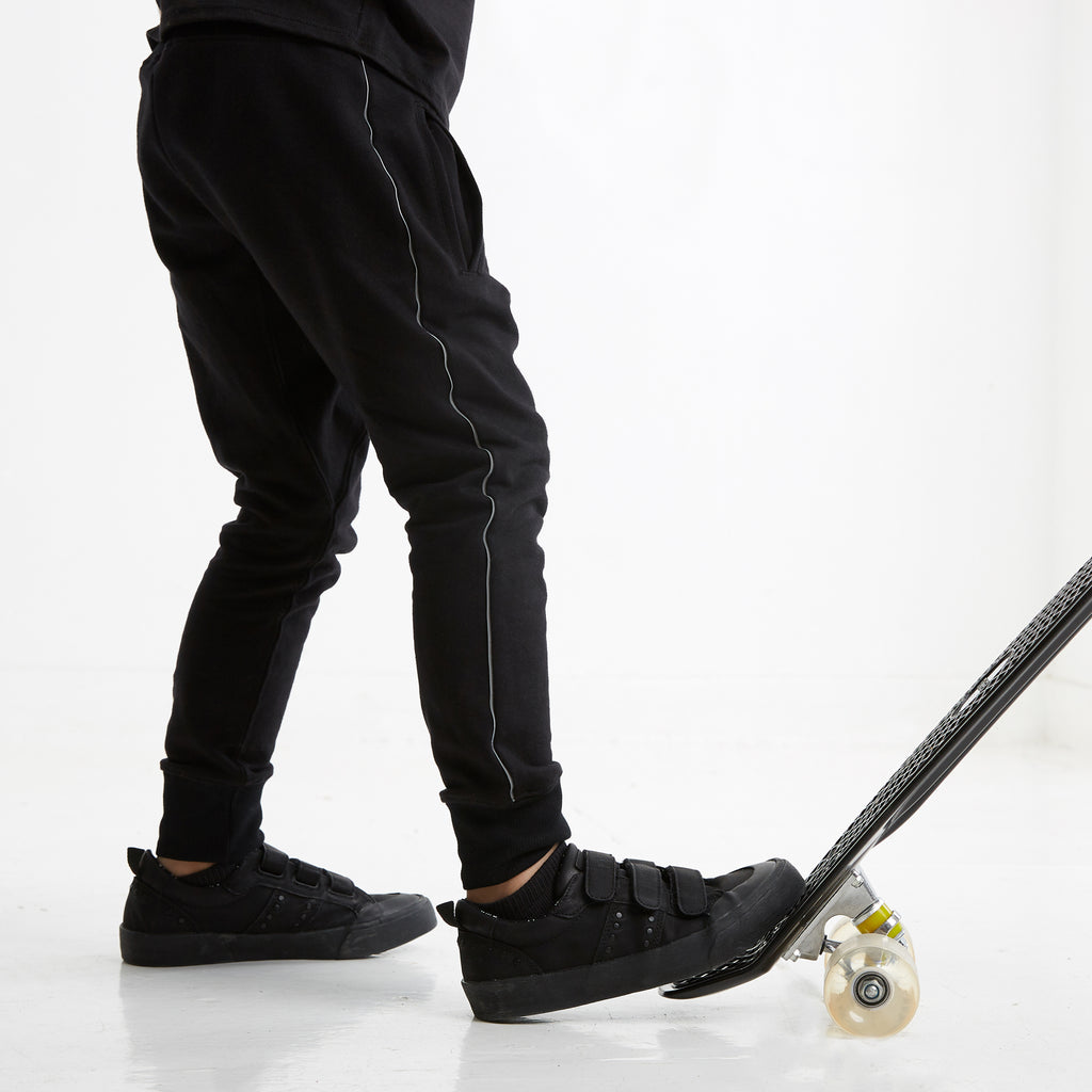 Dropped Crotch Jogger with Reflective Side Stripe in Black